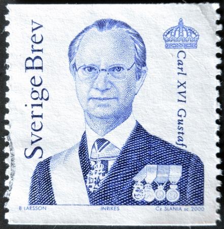 king carl xvi gustaf: SWEDEN - CIRCA 2000: stamp printed by Sweden, shows King Carl XVI Gustaf, circa 2000.  Editorial