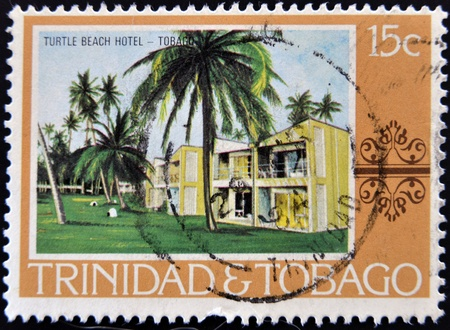 TRINIDAD AND TOBAGO - CIRCA 1970: A stamp printed in Trinidad and Tobago shows turtle beach hotel, circa 1970