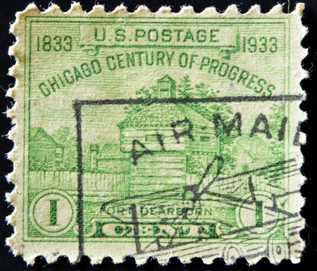 UNITED STATES OF AMERICA - CIRCA 1933: A stamp printed in USA shows Fort Dearborn Chicago Century of Progress, now Chicago,  circa 1933