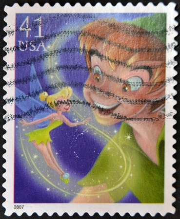 disney cartoon: UNITED STATES OF AMERICA - CIRCA 2007: A stamp printed in USA shows Peter Pan, circa 2007