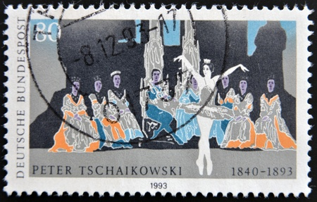 GERMANY- CIRCA 1993 : Stamp printed in Germany shows Ballet of Pyotr Tchaikovsky, circa 1993