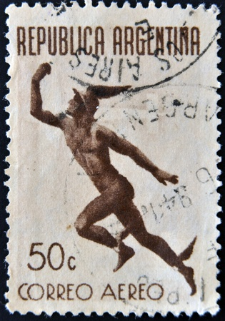 messengers of god: ARGENTINA - CIRCA 1949: A stamp printed in Argentina shows Mercury, messenger of the gods, circa 1949