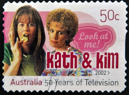 AUSTRALIA - CIRCA 1982: A stamp printed by Australia dedicated to to 50 years of Australian television, shows Kath & Kim, circa 1982