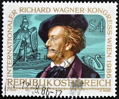 richard: AUSTRIA - CIRCA 1986: A stamp printed in Austria shows Richard Wagner, circa 1986