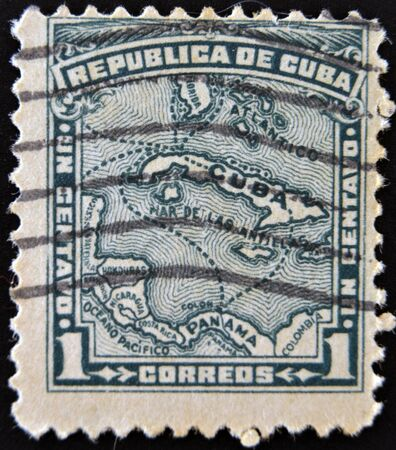 CUBA - CIRCA 1914: A stamp printed in cuba shows map of the Republic of Cuba, circa 1914