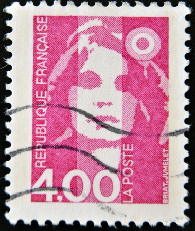 marianne: FRANCE - CIRCA 1989  A stamp printed in France, depicts Marianne is a national emblem of France, circa 1989  Editorial