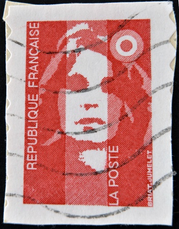 FRANCE - CIRCA 1989  A stamp printed in France, depicts Marianne is a national emblem of France, circa 1989  Stock Photo - 12465067