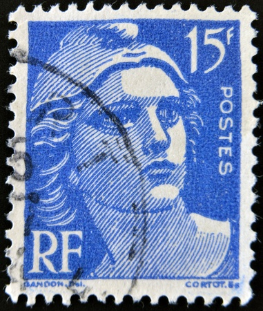 FRANCE - CIRCA 1946  stamp printed by France, shows Marianne, the allegory of the French Republic, circa 1946