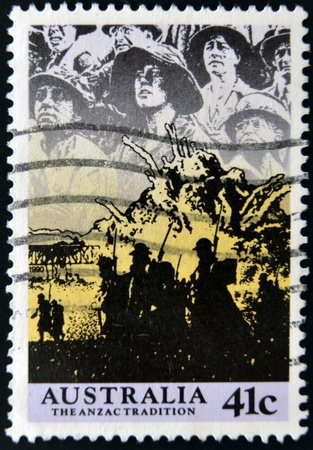 AUSTRALIA - CIRCA 1990: A stamp printed in Australia shows image of the anzac tradition, circa 1990