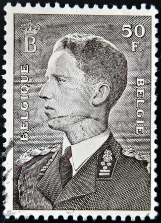 baudouin: BELGIUM - CIRCA 1952: A stamp printed in Belgium shows Baudouin I King of the Belgians, circa 1952  Editorial