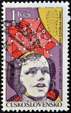 CZECHOSLOVAKIA - CIRCA 1977: A stamp printed in Czechoslovakia, shows Neil Armstrong, first moon walk 1969, circa 1977