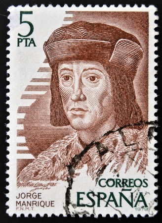 manrique: SPAIN - CIRCA 1979  A stamp printed in Spain showing an image of Jorge Manrique, circa 1979