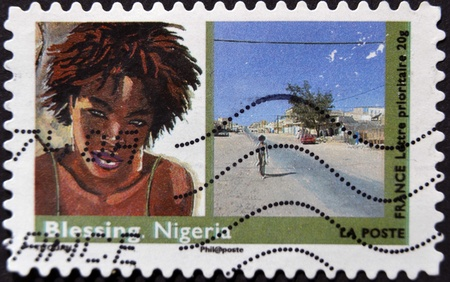 FRANCE - CIRCA 2009  A stamp printed in France shows Blessing - Nigeria, circa 2009