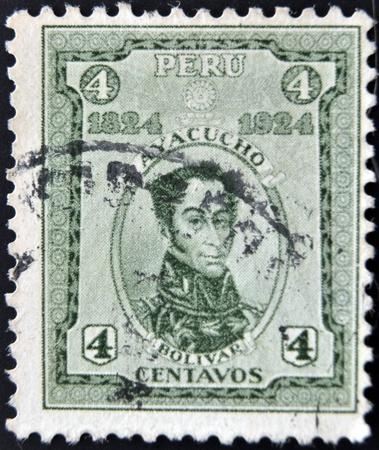 PERU - CIRCA 1924  A stamp printed in Peru shows Simon Bolivar, circa 1924