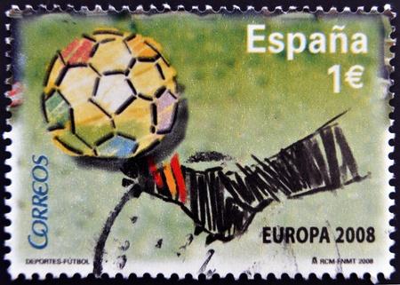 SPAIN - CIRCA 2008 A stamp printed in Spain dedicated to European Football Championship, 2008, circa 2008