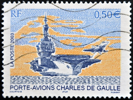 usn: FRANCE - CIRCA 2003: A stamp printed in France shows Charles de Gaulle aircraft carrier, circa 2003 Editorial
