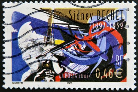 sidney: FRANCE - CIRCA 2002: A stamp printed in France shows Sidney Bechet, circa 2002 Editorial