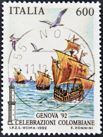 columbian: ITALY - CIRCA 1992: A stamp printed in Italy dedicated to the Columbian celebrations, circa 1992 Editorial