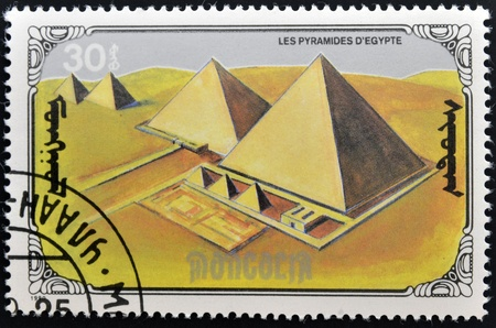 MONGOLIA - CIRCA 1990  A stamp printed in mongolia shows the pyramids of Egypt, circa 1990