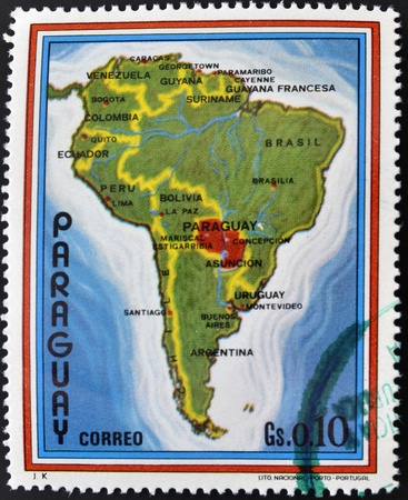 paraguay: PARAGUAY - CIRCA 1970  A stamp printed in Paraguay shows map of Latin America, circa 1970