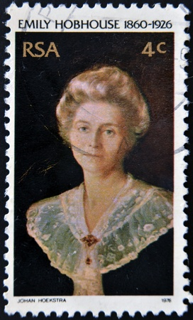 rsa: SOUTH AFRICAN - CIRCA 1976  A stamp printed in RSA shows Emily Hobhouse, circa 1976 Editorial