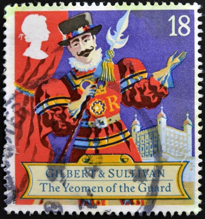 UNITED KINGDOM - CIRCA 1992  a stamp printed in the Great Britain shows Scene from comic opera, Yeoman of the guard by Gilbert and Sullivan, circa 1992  Stock Photo - 12465109