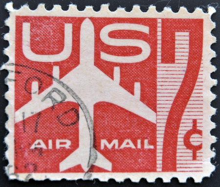 UNITED STATES - CIRCA 1958: stamp printed in USA shows Silhouette of Jet Airliner, circa 1958