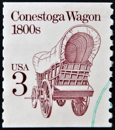 wagon: UNITED STATES OF AMERICA - CIRCA 1988  A stamp printed in USA shows Conestoga wagon 1800s, circa 1988 Stock Photo