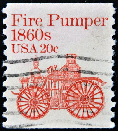 UNITED STATES OF AMERICA - CIRCA 1981  a stamp printed in USA shows Fire pumper 1860s, fire truck, circa 1981
