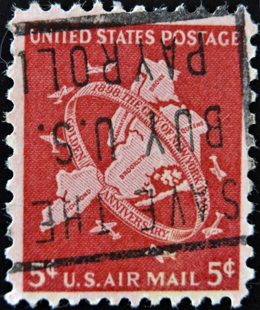 UNITED STATES OF AMERICA - CIRCA 1948  A stamp printed in USA shows New York City, circa 1948