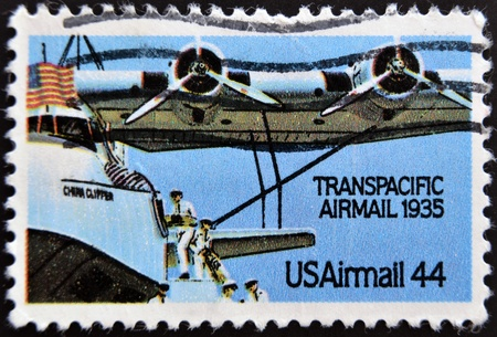 UNITED STATES OF AMERICA - CIRCA 1985  a stamp printed in USA shows plane with inscription Transpacific airmail, circa 1985