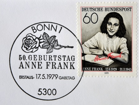 GERMANY- CIRCA 1979: stamp printed by Germany, shows Anne Frank, Nazi victim, circa 1979.
