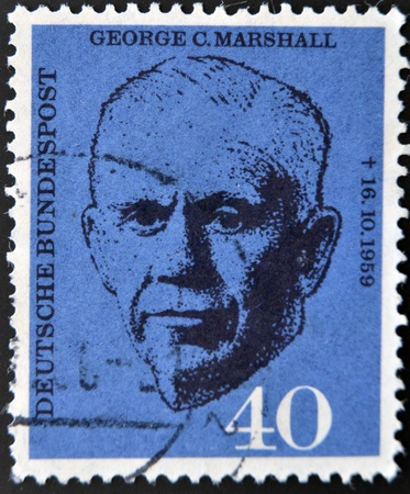 statesman: GERMANY - CIRCA 1960: a stamp printed in the Germany shows George C. Marshall, circa 1960  Editorial