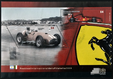 ARGENTINA - CIRCA 2009: A stamp printed in Argentina dedicated to Ferrari, circa 2009