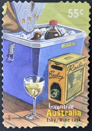 AUSTRALIA - CIRCA 2009 : a stamp printed in Australia shows australian inventions esky wine cask, circa 2009
