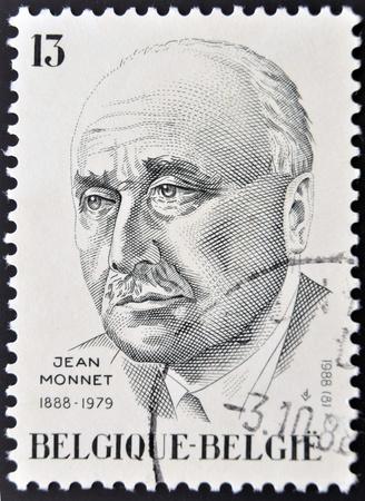 political economist: BELGIUM - CIRCA 1988: A stamp printed in Belgium shows Jean Monnet, circa 1988