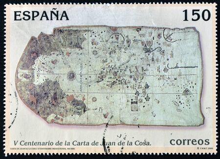 SPAIN  - CIRCA 2000: A stamp printed in Spain shows map of Juan de la Cosa, circa 2000 Editorial