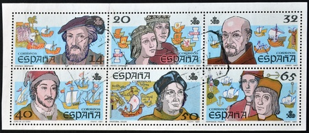 SPAIN - CIRCA 1987: A stamp printed in spain dedicated to the centennial of the discovery of america, circa 1987 Stock Photo - 12465235