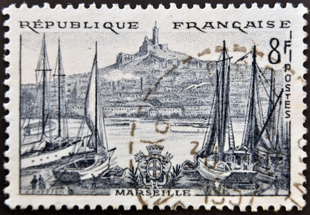 FRANCE - CIRCA 1955: a stamp printed in France shows Marseille,  circa 1955  Stock Photo - 12465240