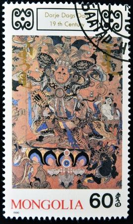 MONGOLIA - CIRCA 1990: A stamp printed in Mongolia  shows Dorje Dags Dan, Buddhist deity, circa 1990
