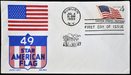 USA - CIRCA 1959: Independence commemorative stamp flaming the United States flag, circa 1959