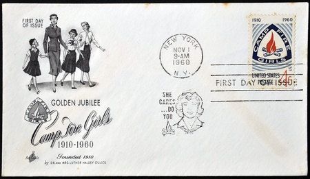 UNITED STATES - CIRCA 1960: stamp printed in USA shows Camp Fire Girls Emblem, circa 1960