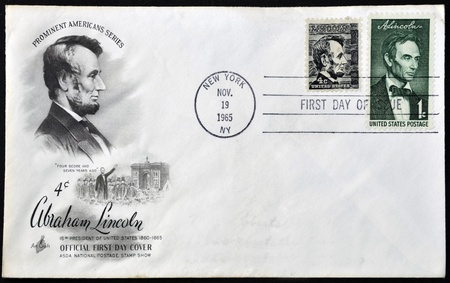 UNITED STATES OF AMERICA - CIRCA 1965: stamp printed in USA shows Lincoln, circa 1965