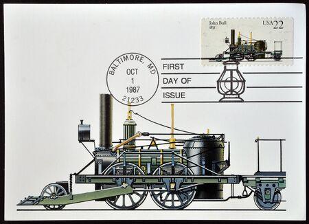 UNITED STATES OF AMERICA- CIRCA 1987: stamp printed in USA shows locomotive John Bull, circa 1987  Stock Photo - 12465232