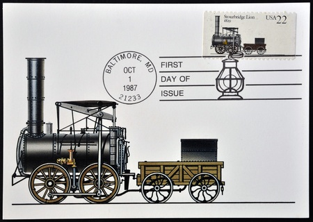 UNITED STATES OF AMERICA - CIRCA 1987: A stamp printed in  USA shows locomotive Stourbridge Lion, circa 1987  Stock Photo - 12465228