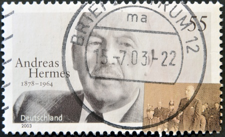 GERMANY - CIRCA 2003  A stamp printed in Germany shows Andreas Hermes, circa 2003