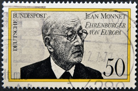 proponent: GERMANY- CIRCA 1977  stamp printed in Germany shows Jean Monnet, French proponent of unification of Europe, circa 1977   Editorial