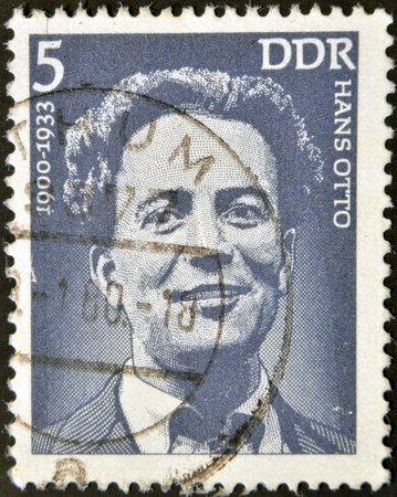 postmail: GERMANY - CIRCA 1975: A stamp printed in GDR (East Germany) shows Hans Otto, circa 1975  Editorial