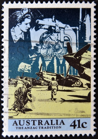 AUSTRALIA - CIRCA 1990: A stamp printed in Australia shows image of the anzac tradition, circa 1990  Stock Photo - 12531903