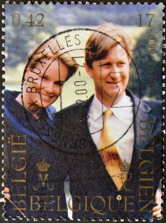BELGIUM - CIRCA 1999: A stamp printed in Belgium shows the Princes Mathilde and Philippe of Belgium, circa 1999